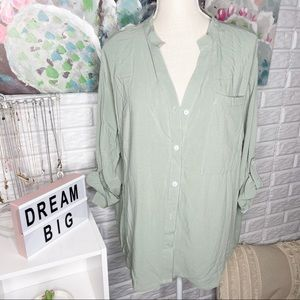 Pink Lily NEW Green Long Sleeve Button Down Blouse